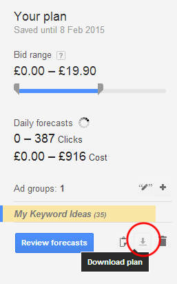 Download keyword plan